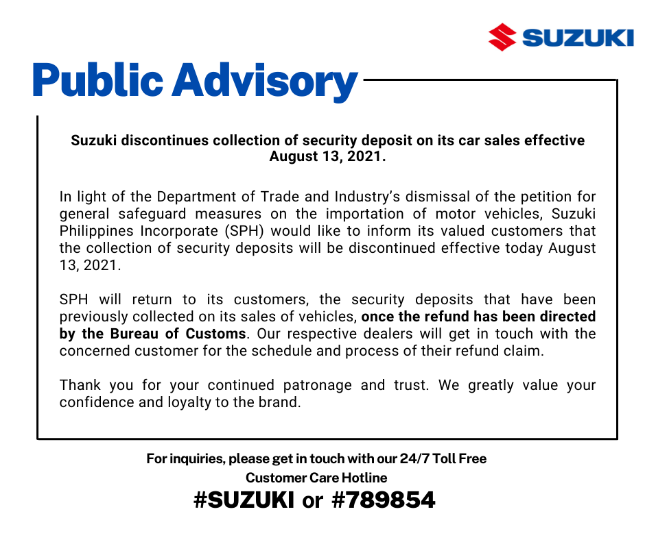 Suzuki discontinues collection of security deposit on its car sales effective August 13, 2021