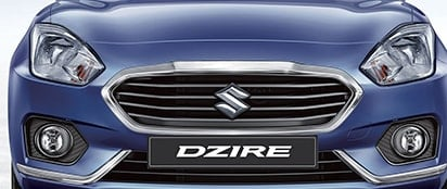 Suzuki Dzire Wide open front grille with silver accents