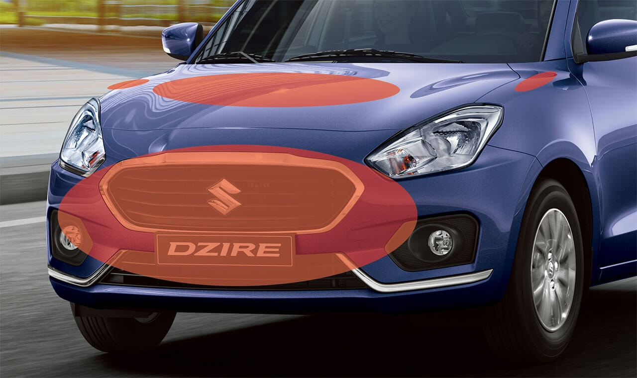 Suzuki Dzire Pedestrian injury mitigating body