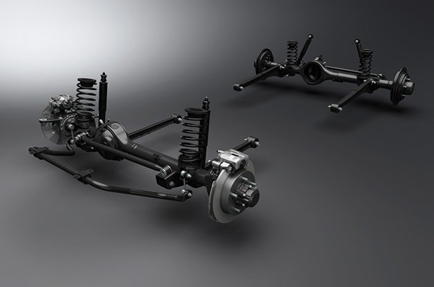 Suzuki Jimny 3-link rigid axle suspension with coil spring